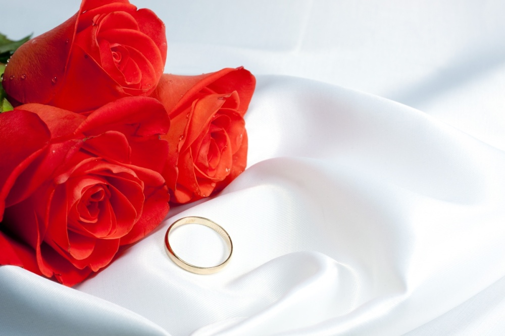 Bouquet  Roses  and  gold  ring  at  White  bed  Underwear